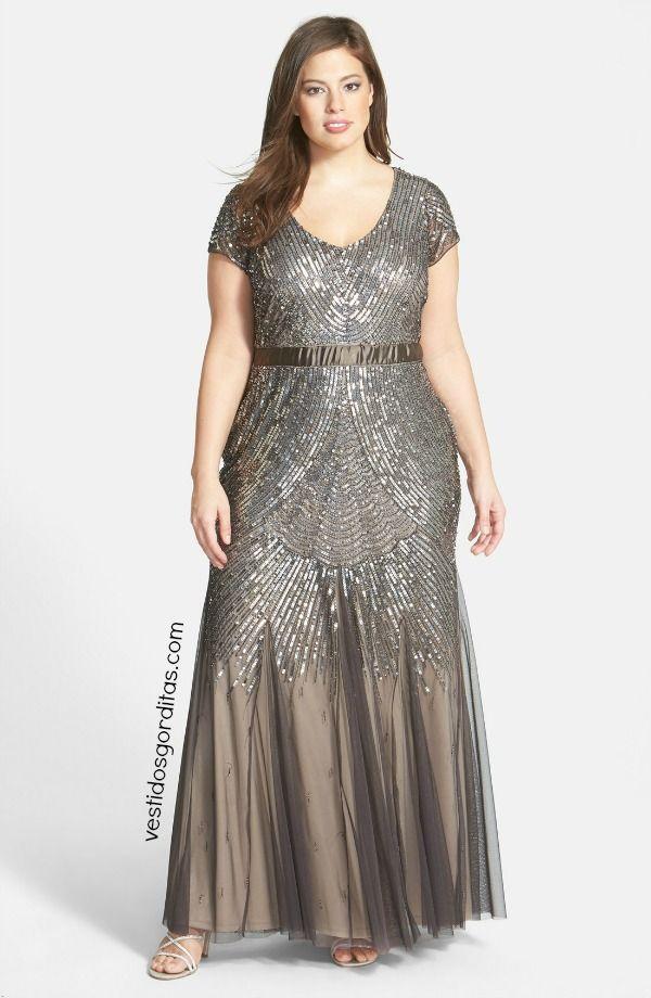 Vestido Con Piedreria Y Mangas Casquillo Vestidos Gorditas - Vestidos-gorditas