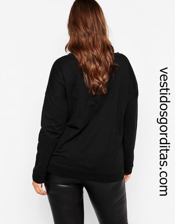 Suéter cuello redondo, color negro para gorditas