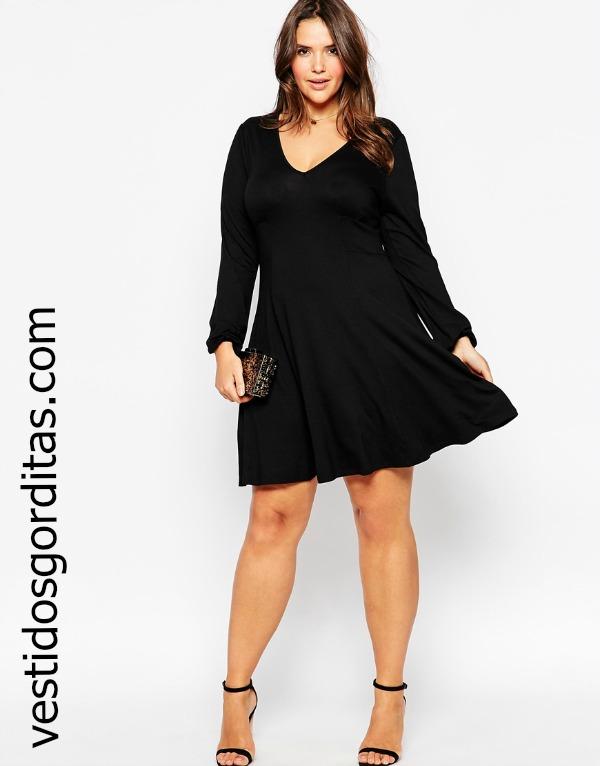 Vestido negro corto para gorditas